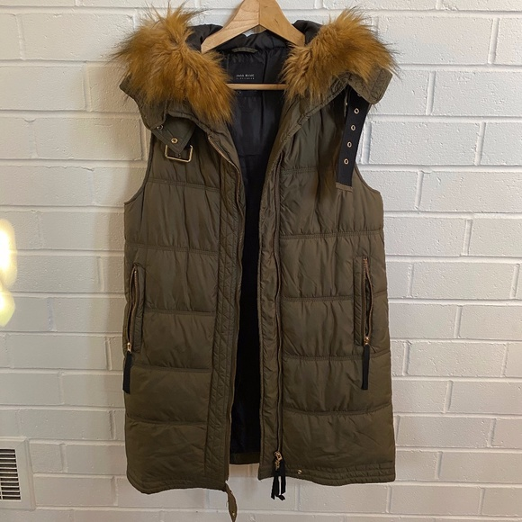 Winter Vest with Faux Fur Hood